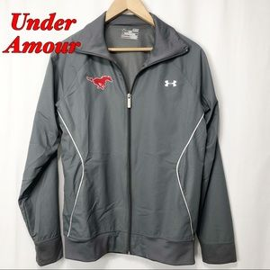 Under Armour-Gray Track Jacket white Ribbing SM